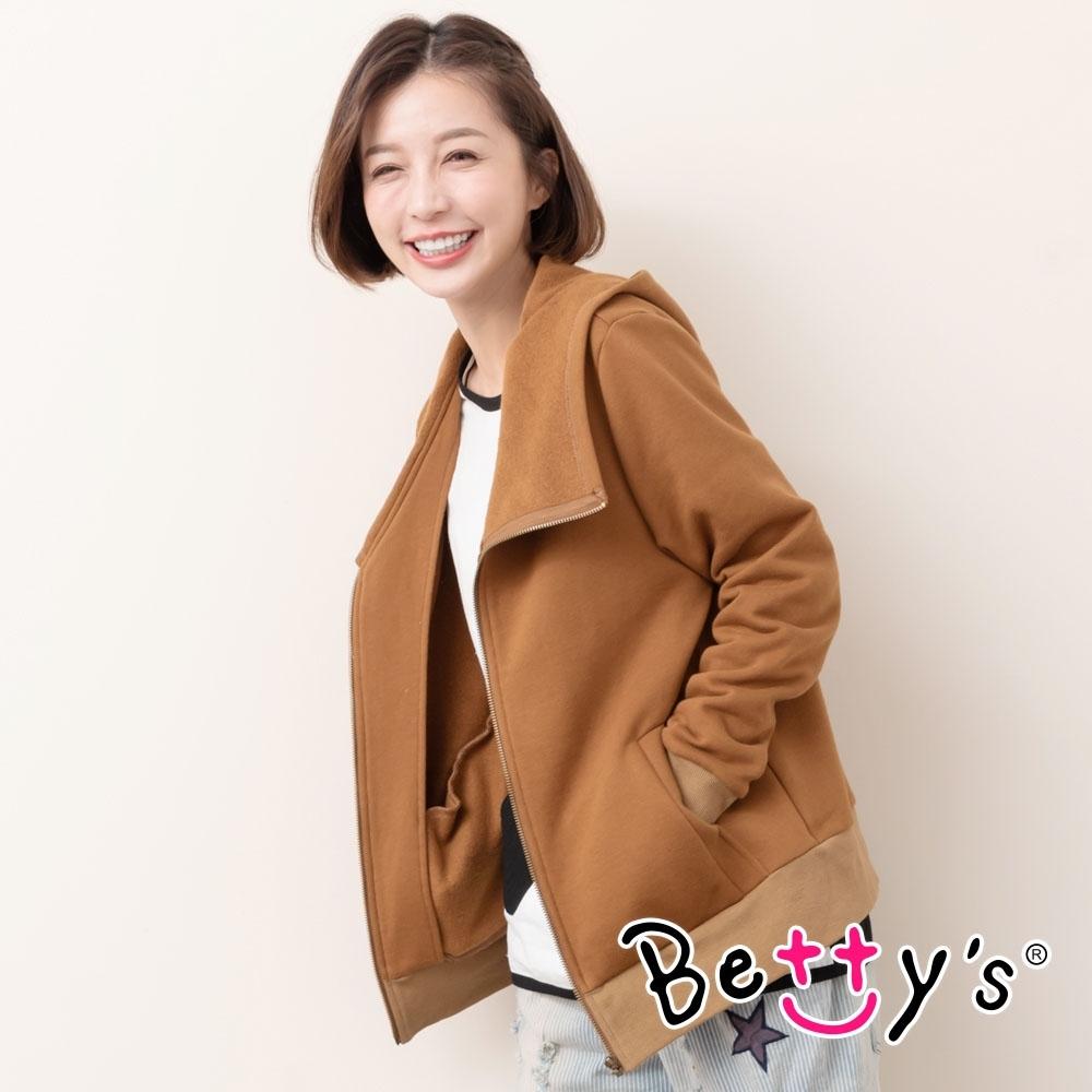 betty's貝蒂思 騎士風斜領連帽外套(咖啡色) product image 1