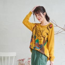 慢 生活 設計師塗鴨捲邊圓領針織上衣- 黃色