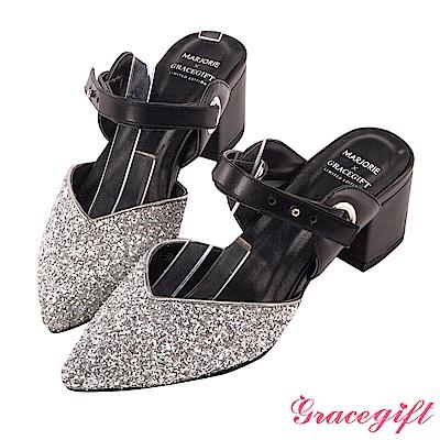 Grace gift X Marjorie-2way亮片皮革條帶尖頭鞋 銀