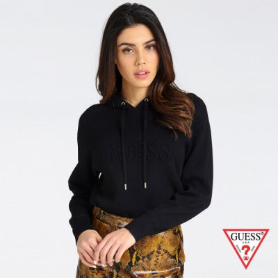 GUESS-女裝-簡約純色LOGO連帽長袖上衣-黑