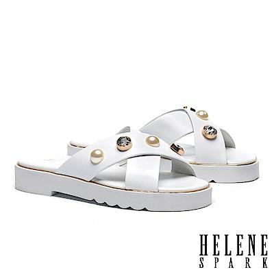 拖鞋 HELENE SPARK 珍珠白鑽交叉羊皮厚底拖鞋-白