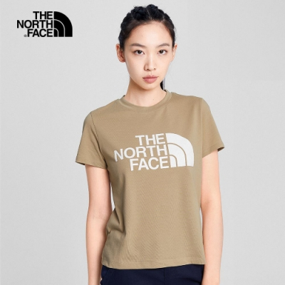 The North Face 女 經典logo休閒短袖T 卡其-NF0A4NF7H7E