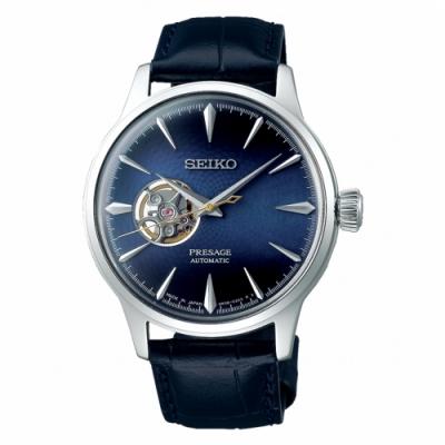 SEIKO精工 PRESAGE透視牛皮開芯機械錶 SSA405J1
