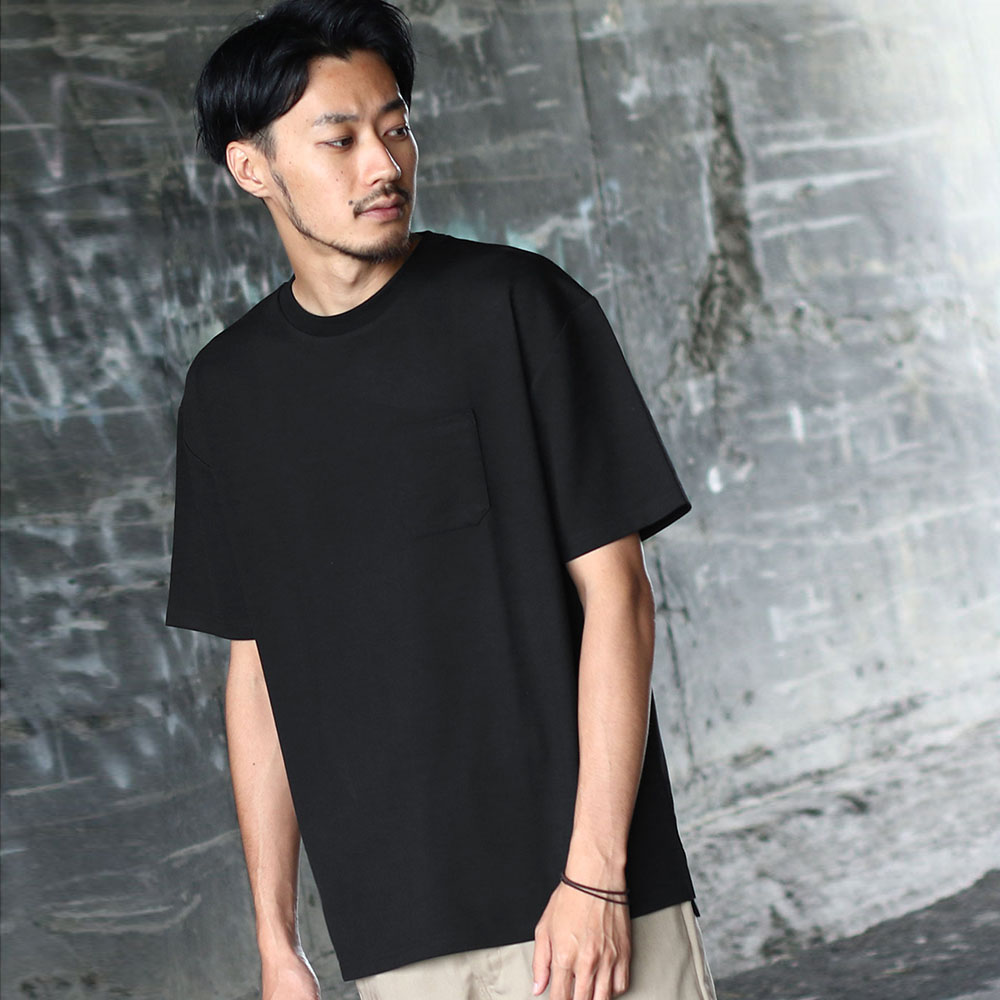 寬版T恤素色短袖胸口袋(7色) ZIP日本男裝