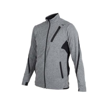 MIZUNO 男針織運動外套-美津濃 慢跑 路跑 立領外套 麻花深灰黑