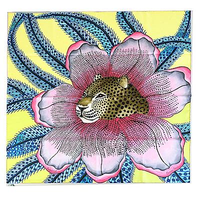 Hermes Baobab Cat斜紋真絲方巾(粉紅X黃)