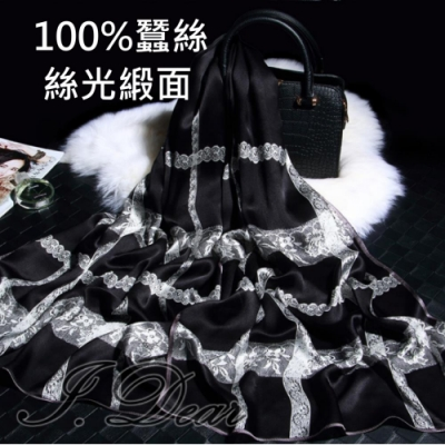 I.Dear-100%蠶絲歐美圖騰印花緞面長絲巾披肩(蕾絲黑色)