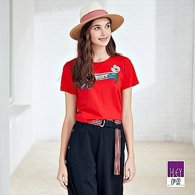 ILEY伊蕾 標語織帶刺繡棉質上衣(灰/紅)