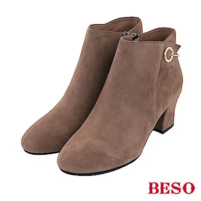 BESO 摩登美感 立體裁片粗跟短靴~藕粉