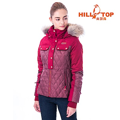 【hilltop山頂鳥】女款超潑水保暖蓄熱羽絨短大衣F22FY6暗紅