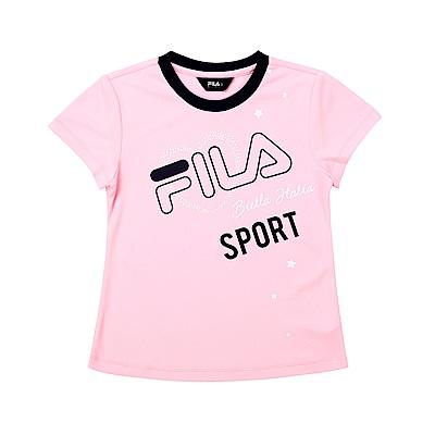 FILA KIDS 童吸濕排汗短袖上衣-粉色 5TET-4913-PK