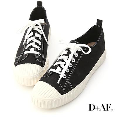 D+AF 玩色趣味.多色帆布休閒餅乾鞋*黑