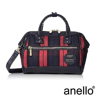 anello 經典復古感格紋波士頓兩用手提斜背包 紅色