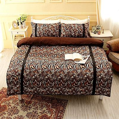 極致誘惑  絲緞單人三件式鋪棉兩用被床包組