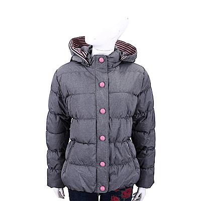 EMPORIO ARMANI 條紋細節連帽灰色科技棉絎縫保暖外套