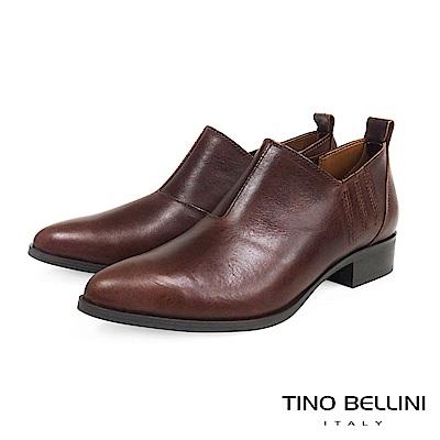 Tino Bellini 義大利進口摩登雅痞女郎低跟皮鞋 _ 咖