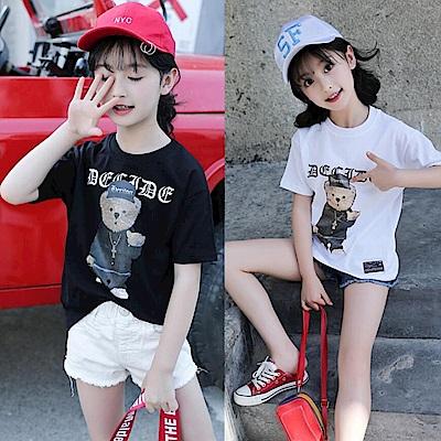 小衣衫童裝    中大童嘻哈小熊印花短袖T恤1070523