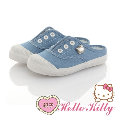 HelloKitty親子鞋童鞋 輕量減壓帆布懶人穆勒鞋-藍
