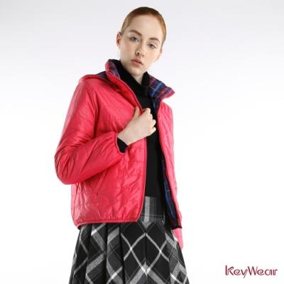 KeyWear奇威名品     時尚可拆帽T雙面穿輕保暖長袖外套-粉紅色