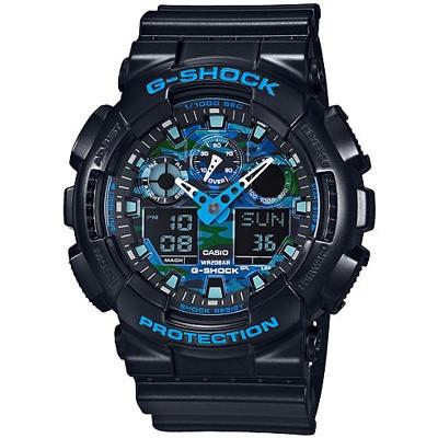 G-SHOCK 街頭時尚金屬風格腕錶-黑X藍(GA-100CB-1A)/51mm