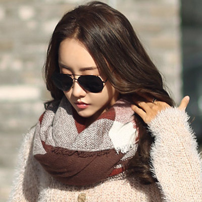 正韓 時尚混色拼接格紋圍巾 (共五色)-N.C21