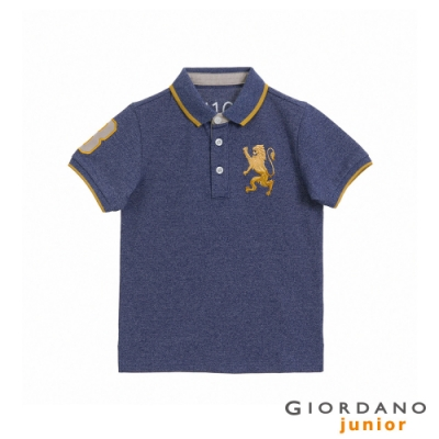 GIORDANO   童裝勝利獅王漸層刺繡彈力萊卡POLO衫 - 99 雪花古典藍