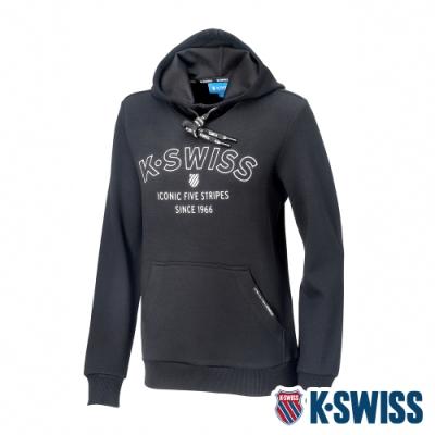 K-SWISS Embossed KS Logo Hoodie連帽上衣-女-黑