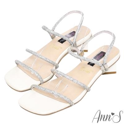 Ann'S閃耀最佳-一字彩鑽可兩穿方塊粗跟涼鞋-米白