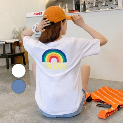 T恤 圓領彩虹刺繡短袖T恤JZ13818-創翊韓都