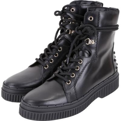 TOD'S 黑色豆豆裝飾繫帶牛皮平底短軍靴-38.<b>5</b>號(展示品)