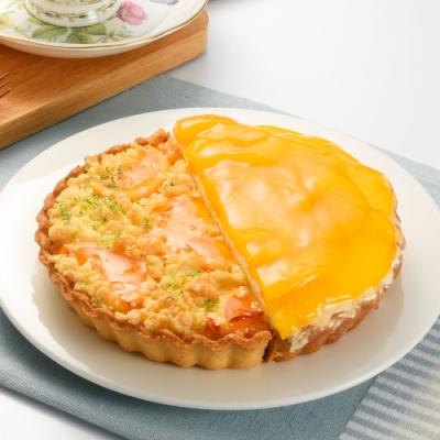 (滿10件)亞尼克雙享派 橙香起司水蜜桃派6吋