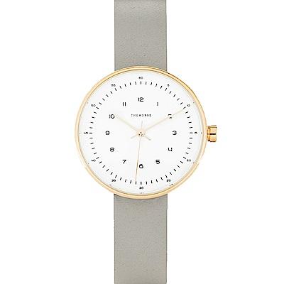 THE HORSE 極簡時尚玫瑰金真皮革腕錶(現代灰) –白色/34mm