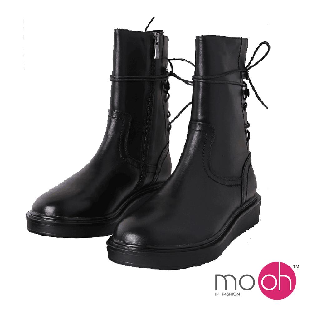 mo.oh-全真皮-圓頭厚底綁帶機車短靴-黑色