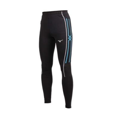 MIZUNO 男緊身長褲-束褲 訓練 內搭褲 慢跑 路跑 美津濃 黑水藍白