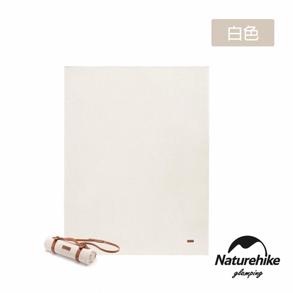 Naturehike 簡約復古 素面帆布野餐墊 地墊 附皮革收納帶 白色-急