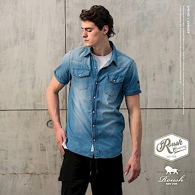Roush 雙口袋釘釦水洗牛仔短袖襯衫(2色)