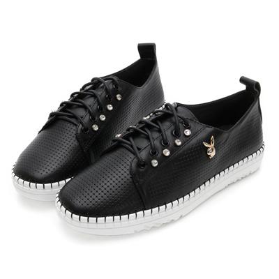 PLAYBOY輕奢學院 側排鑽真皮綁帶休閒鞋-黑