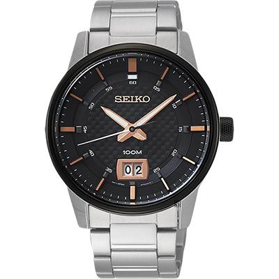 SEIKO精工 CS 城市系列大日期視窗手錶(SUR285P1)-黑x銀/40mm