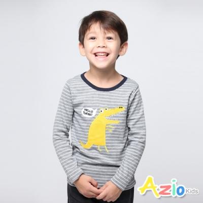 Azio Kids 男童 上衣 哈囉黃色鱷魚條紋長袖上衣 (灰)
