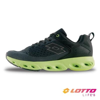 【LOTTO】義大利 男 AIR FLOW 410 風動跑鞋(黑綠)