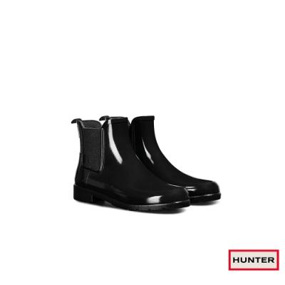 HUNTER - 女鞋 - Refined切爾西亮面踝靴 - 黑