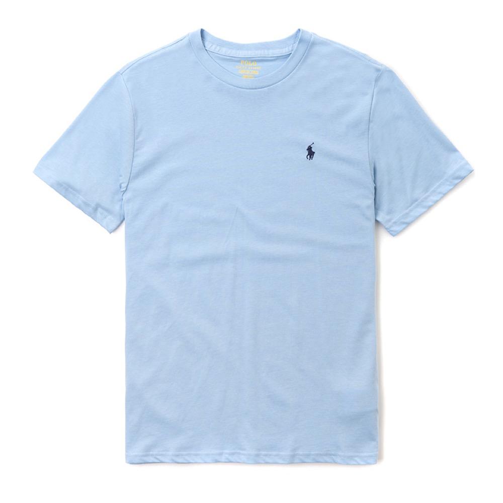 Polo Rlaph Lauren 經典小馬圓領素面短袖T恤(女青年款)-水藍色