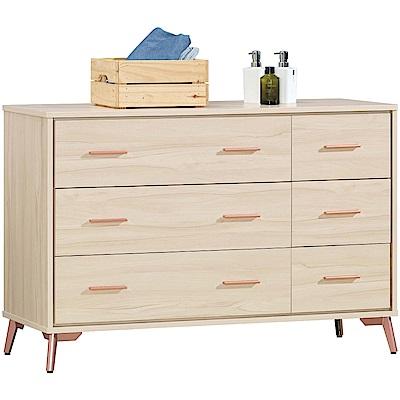 文創集 麥克利時尚4尺木紋六斗櫃/收納櫃-120x40x80.5cm免組