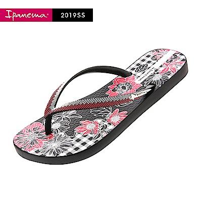 IPANEMA  FASHION系列 印花夾腳拖鞋-黑