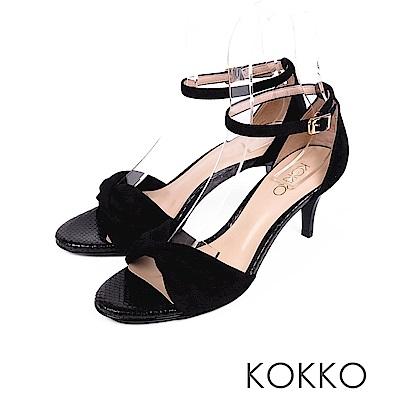 KOKKO -  女神降臨扭結繫帶真皮高跟鞋 - 濃蜜黑