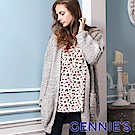 Gennies專櫃-寬鬆金蔥針織長版外套(灰)TS802