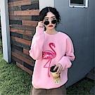 DABI 韓國學院風寬鬆火烈鳥長袖刺繡長袖上衣