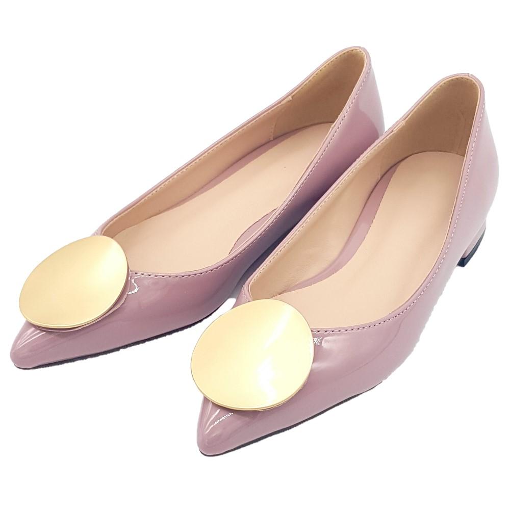 Cinderella Fashions 尖頭圓形金屬飾漆皮平底鞋 - 粉藕色