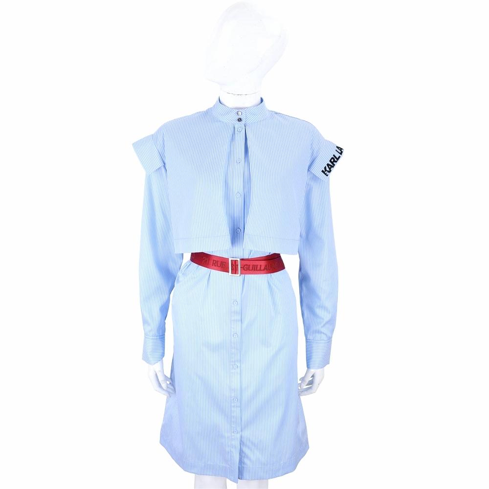 Karl Lagerfeld 藍白條紋設計感襯衫式洋裝(附字母腰帶)