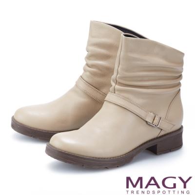MAGY 真皮皺摺斜邊皮帶釦飾低跟 女 短靴 杏色